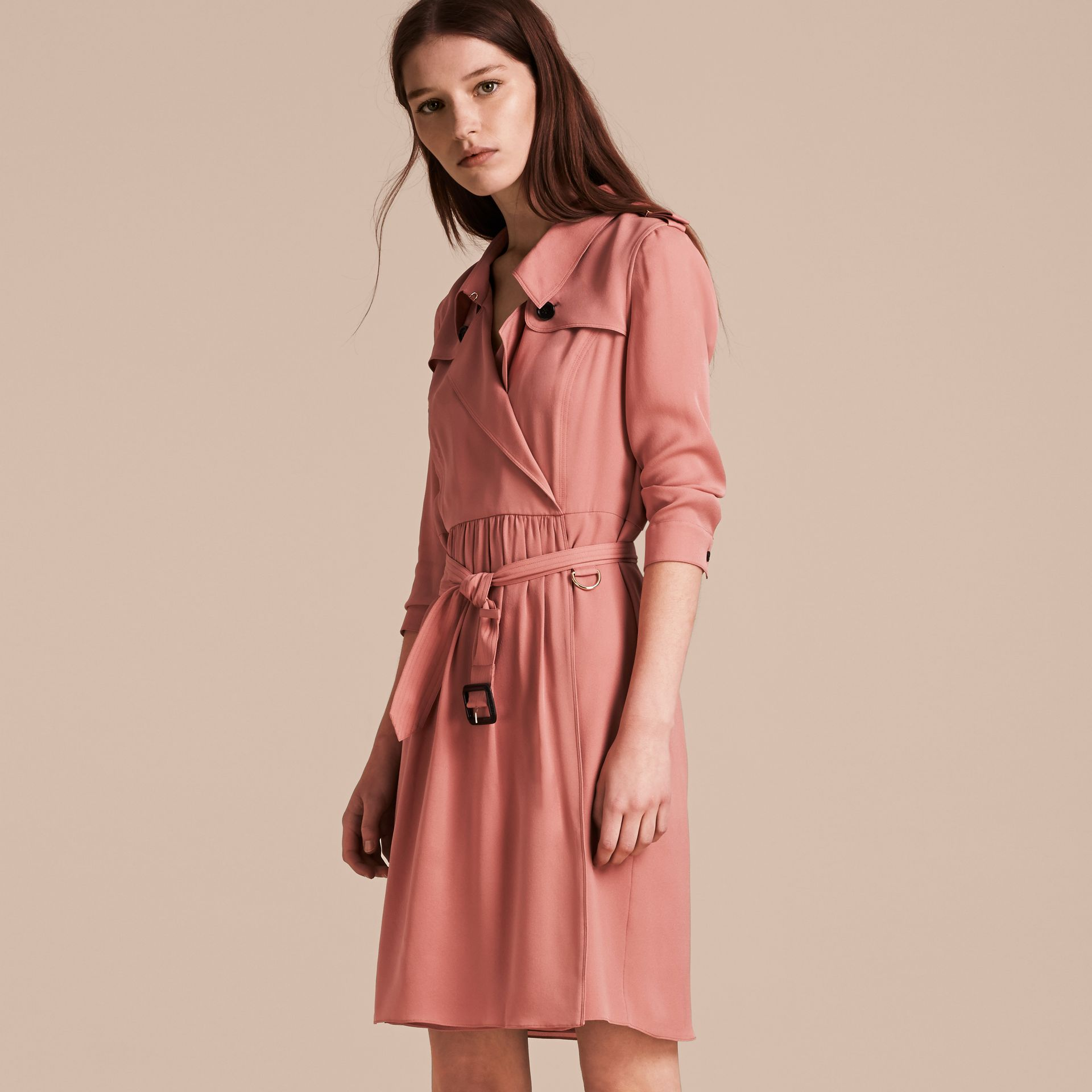 Silk Trench Dress Light Copper Pink - gallery image 6