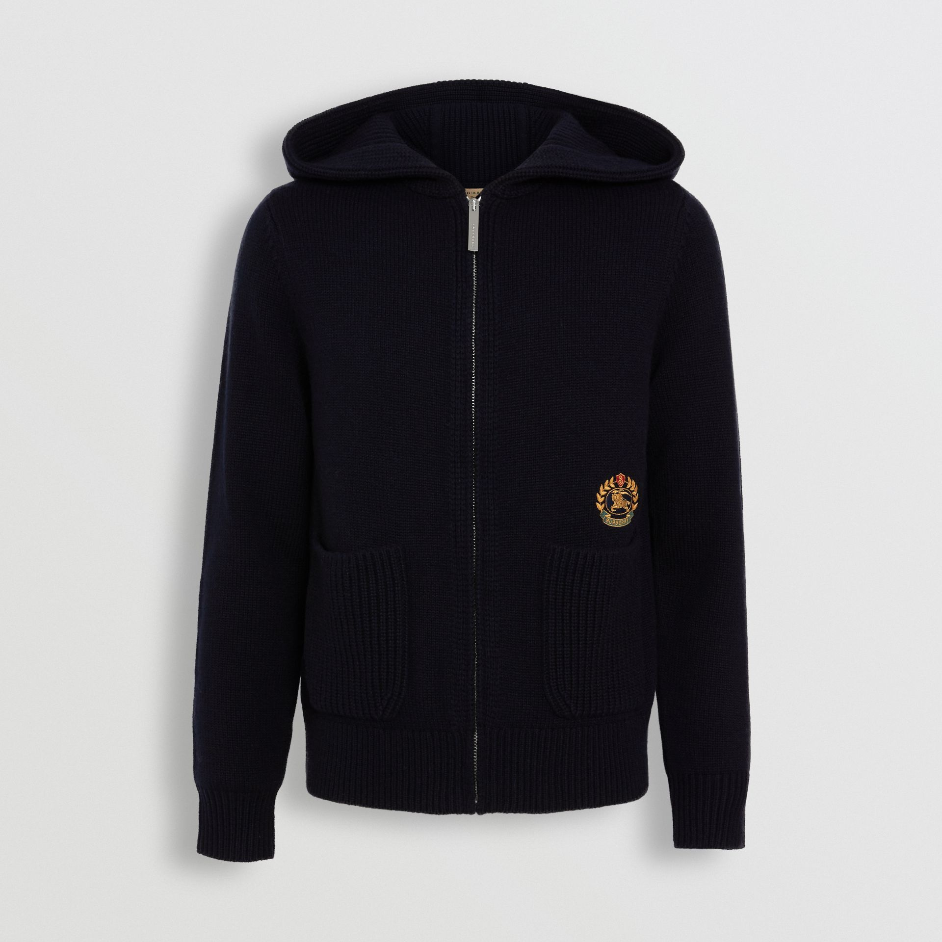 Embroidered Archive Logo Cashmere Hooded Top in Navy - Women | Burberry Singapore - gallery image 3