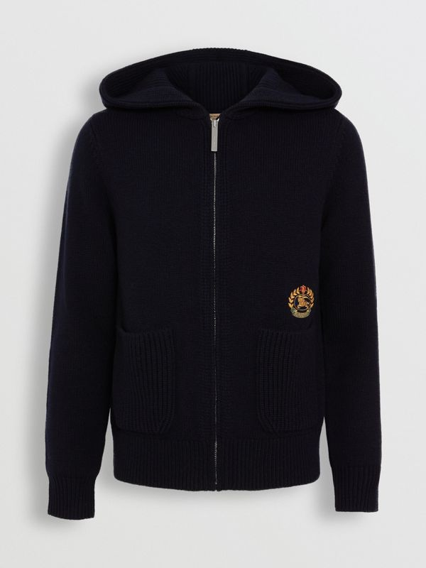 Embroidered Archive Logo Cashmere Hooded Top in Navy - Women | Burberry Singapore - cell image 3