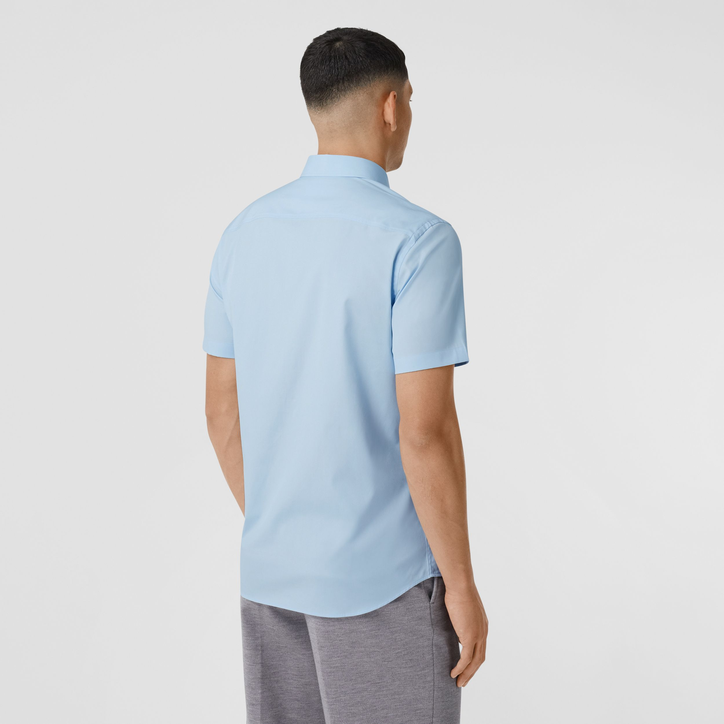 Short-sleeve Monogram Motif Stretch Cotton Shirt in Pale Blue - Men | Burberry - 3