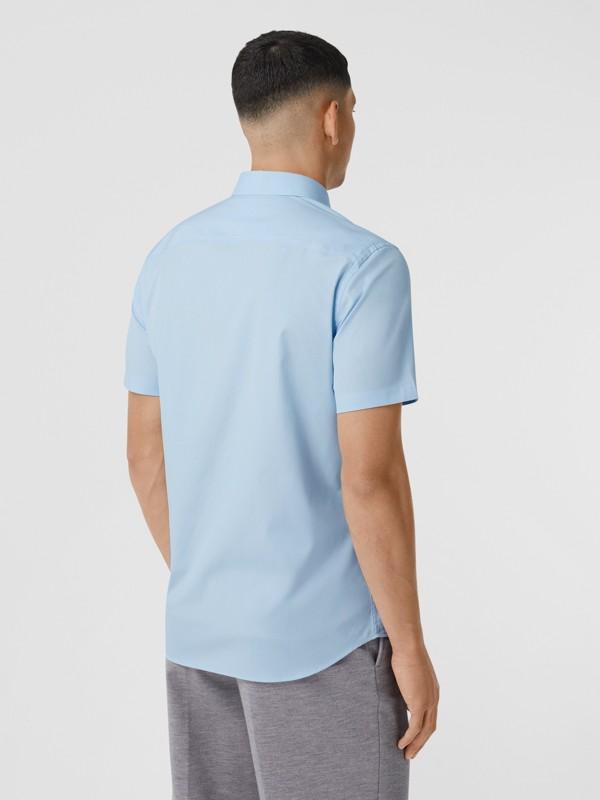 Short-sleeve Monogram Motif Stretch Cotton Shirt in Pale Blue - Men | Burberry United Kingdom - cell image 2