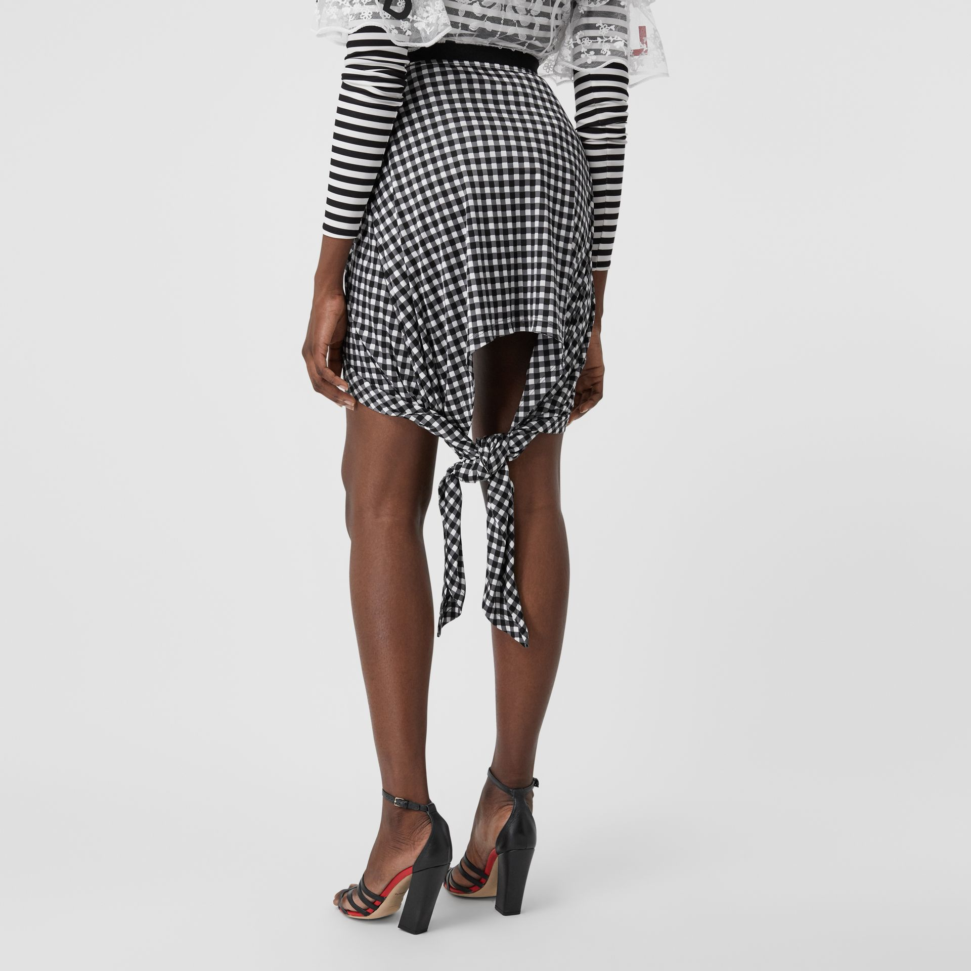 Scarf-tie Detail Gingham Mini Skirt in Black - Women | Burberry - gallery image 2