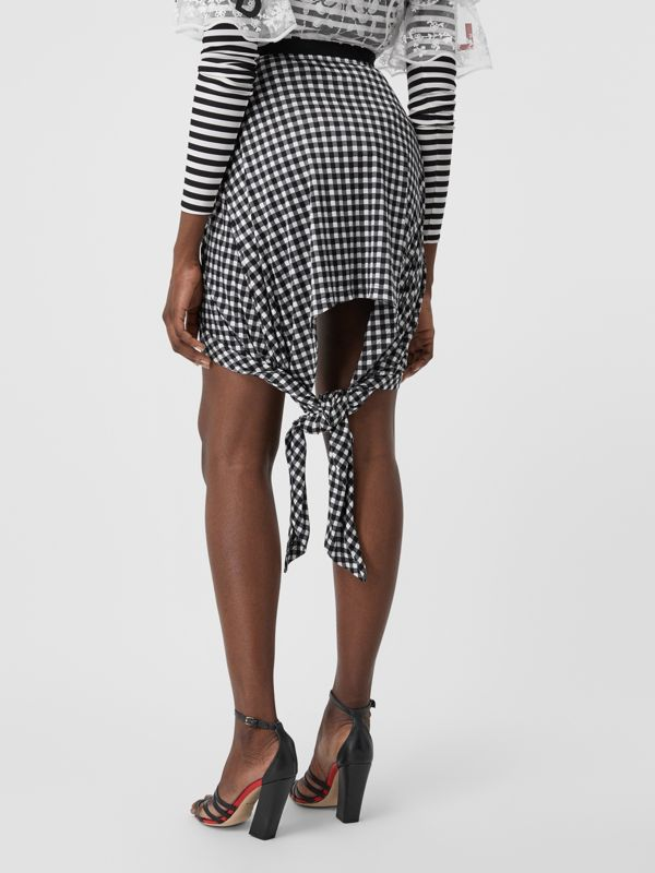 Scarf-tie Detail Gingham Mini Skirt in Black - Women | Burberry - cell image 2