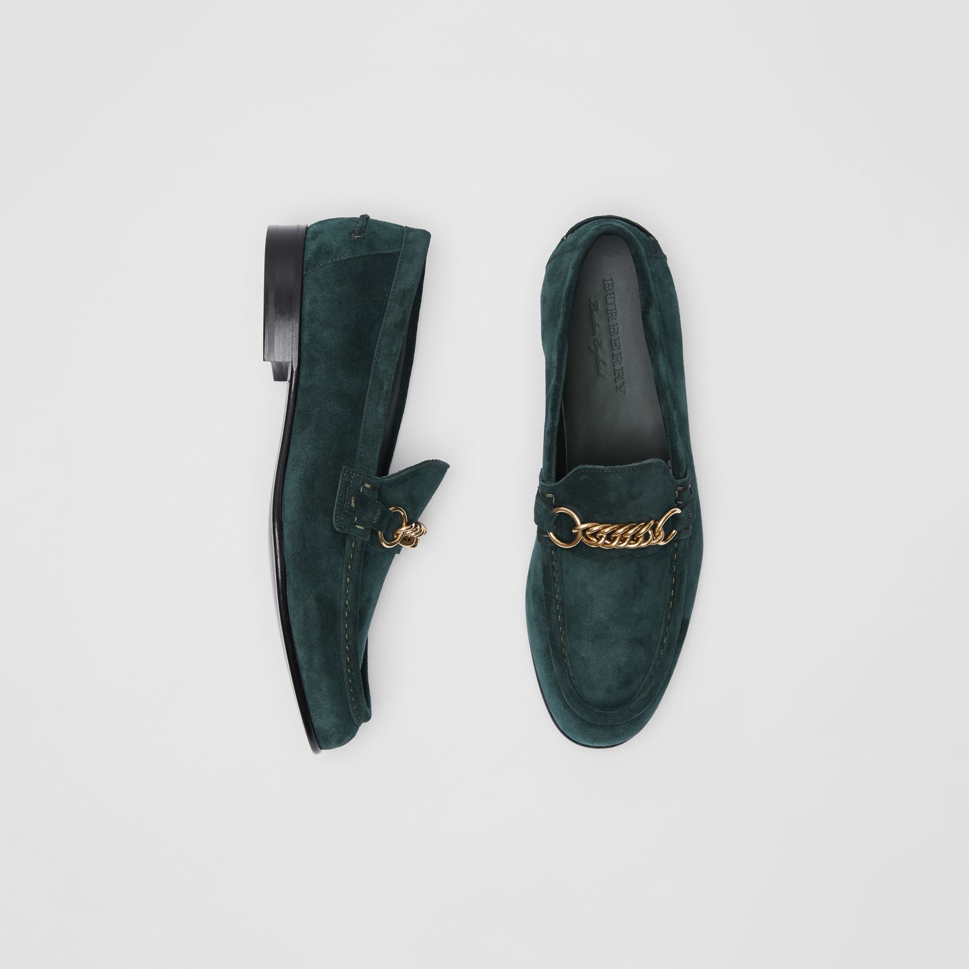 The Suede Link Loafer in Dark Slate Green - Men | Burberry - gallery image 0