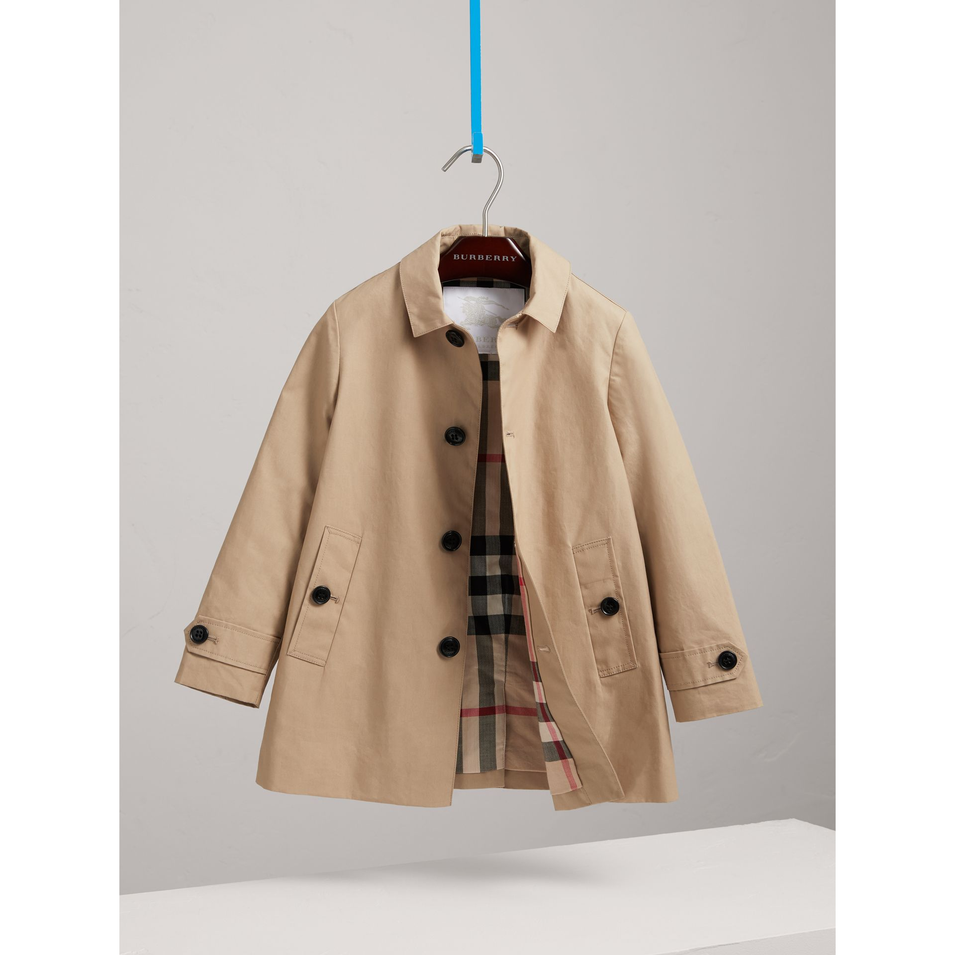 Mercerised Cotton Car Coat in Honey - Boy | Burberry - gallery image 2