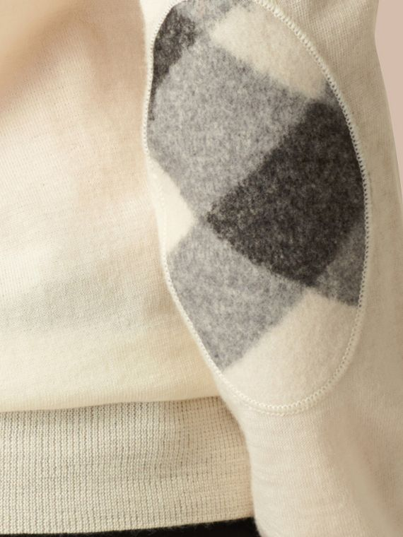 Natural white Check Detail Merino Crew Neck Sweater Natural White - cell image 3
