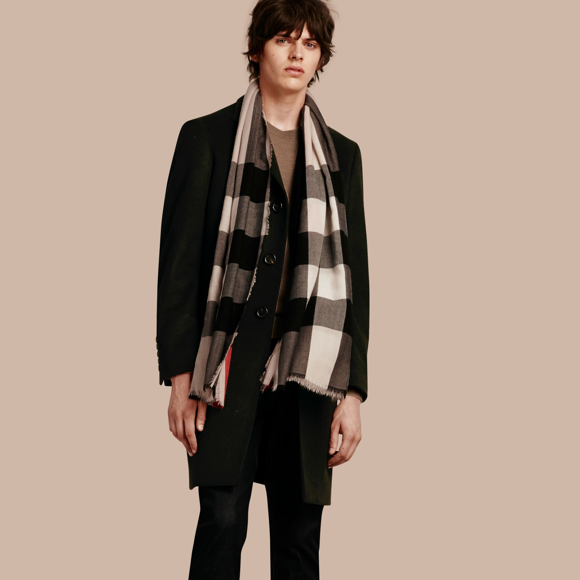 The Lightweight Cashmere Scarf in Check in Stone - gallery image 4
