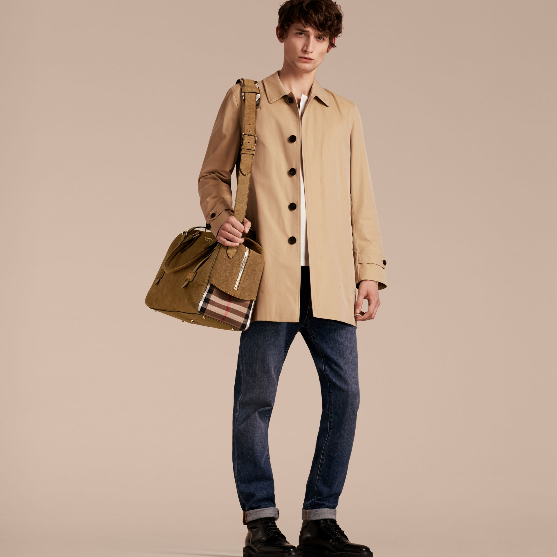 Textured Suede and House Check Detail Holdall - gallery image 2