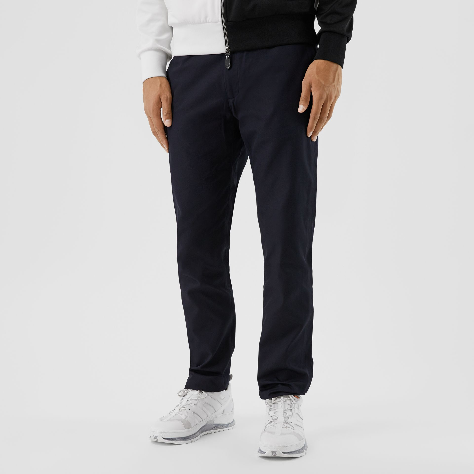 Slim Fit Cotton Chinos in Navy - Men | Burberry Hong Kong S.A.R - gallery image 3