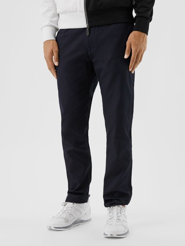 Slim Fit Cotton Chinos in Navy - Men | Burberry Hong Kong S.A.R - cell image 3