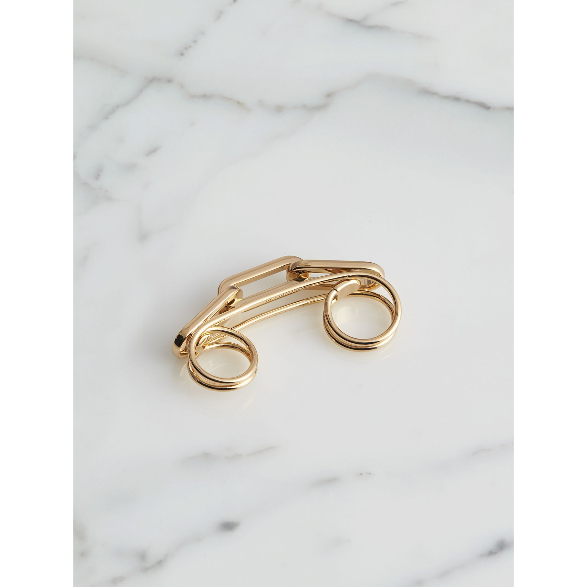 Gold-plated Link Double Ring in Light - Women | Burberry - gallery image 1