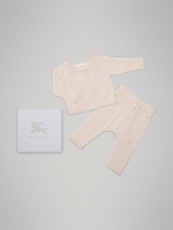 Bobble Knit Cotton Two-piece Baby Gift Set in Stone