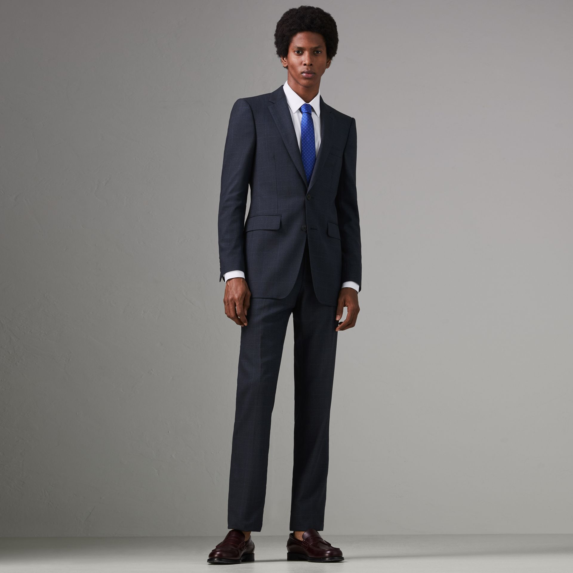Modern Fit Check Wool Three-piece Suit in Bright Navy - Men | Burberry - gallery image 0