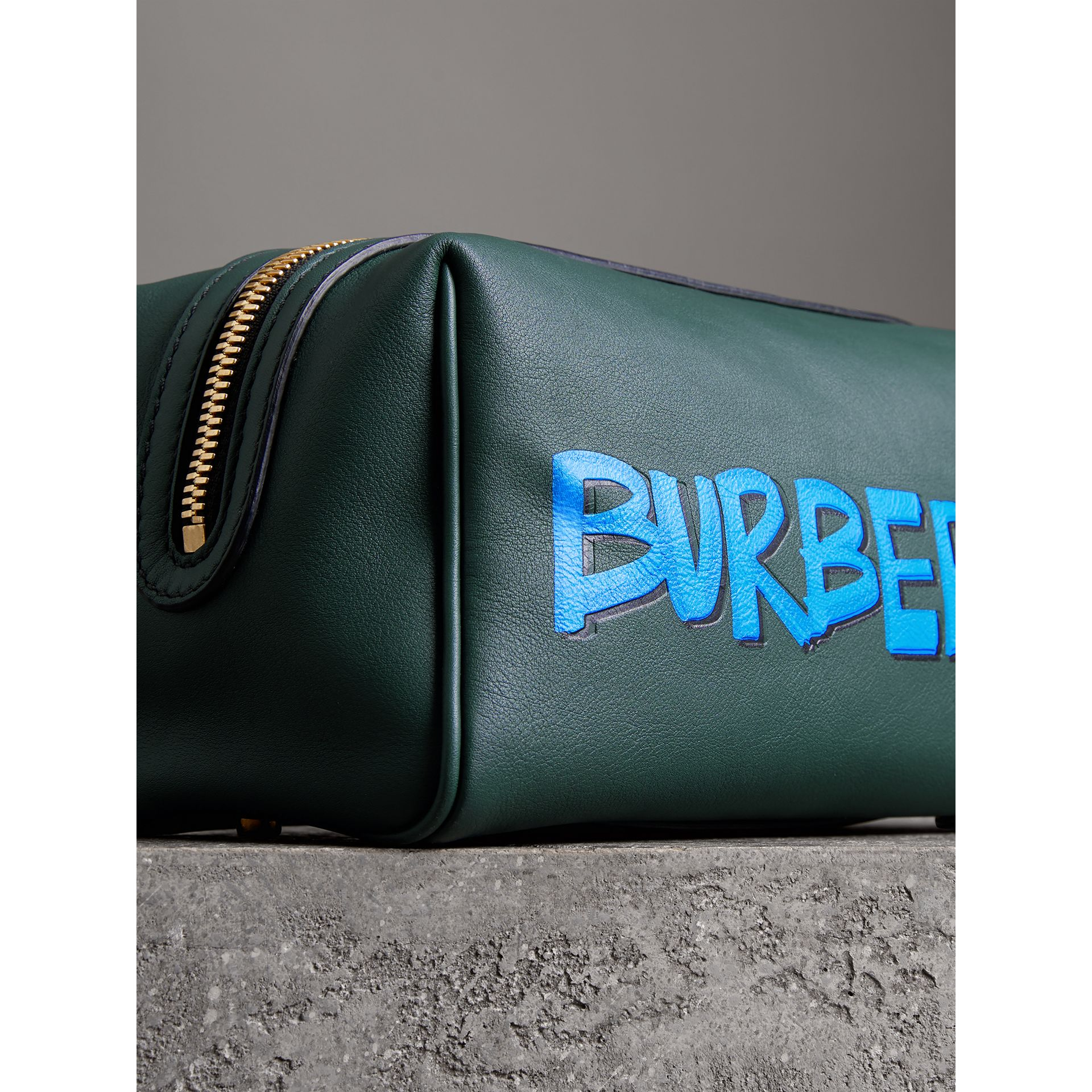 Graffiti Print Leather Pouch in Deep Bottle Green | Burberry - gallery image 1