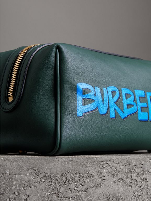 Graffiti Print Leather Pouch in Deep Bottle Green | Burberry - cell image 1