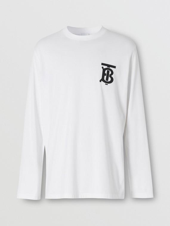 Blusa de mangas longas de algodão com monograma (Branco)
