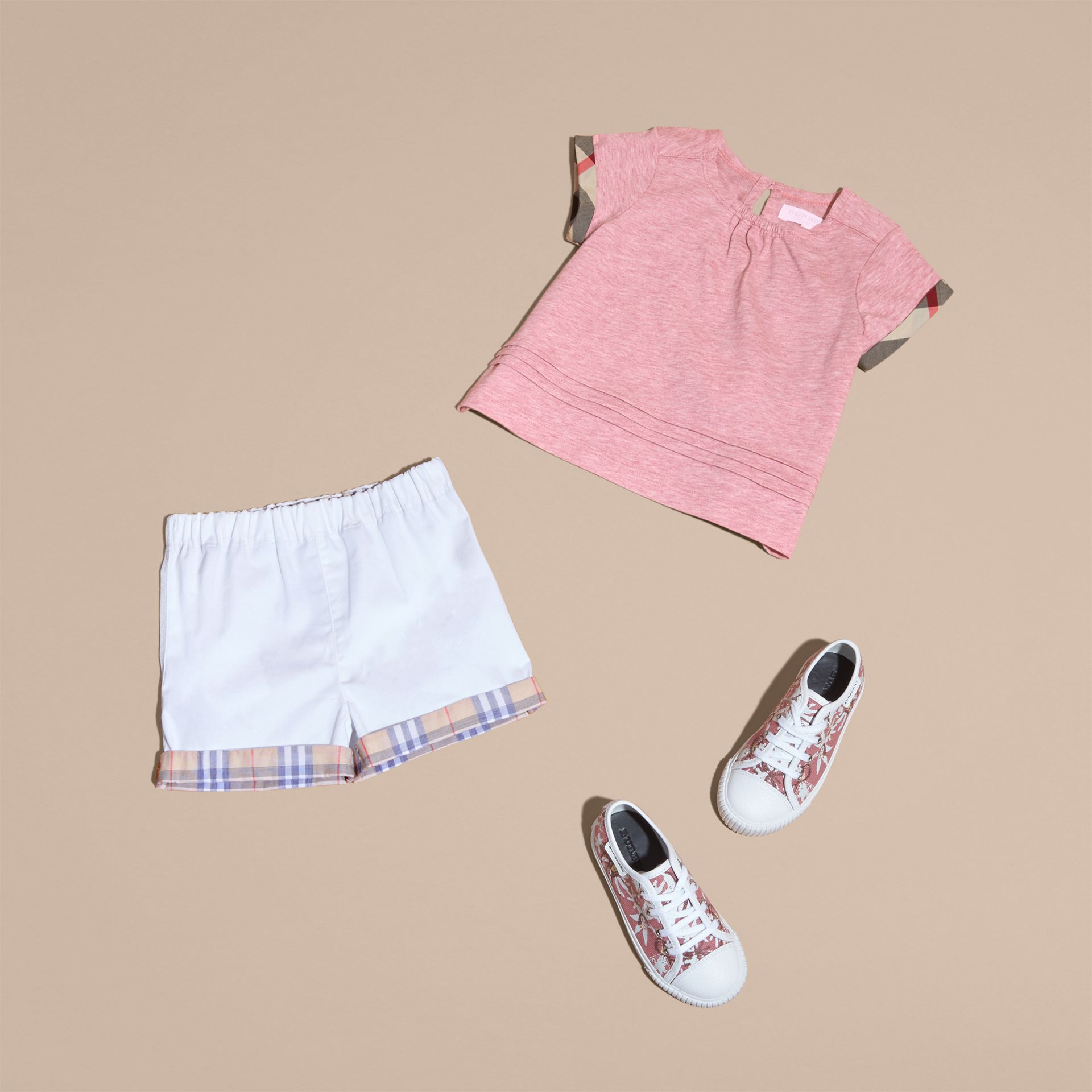 Check Trim Cotton T-shirt Light Copper Pink Melange - gallery image 5