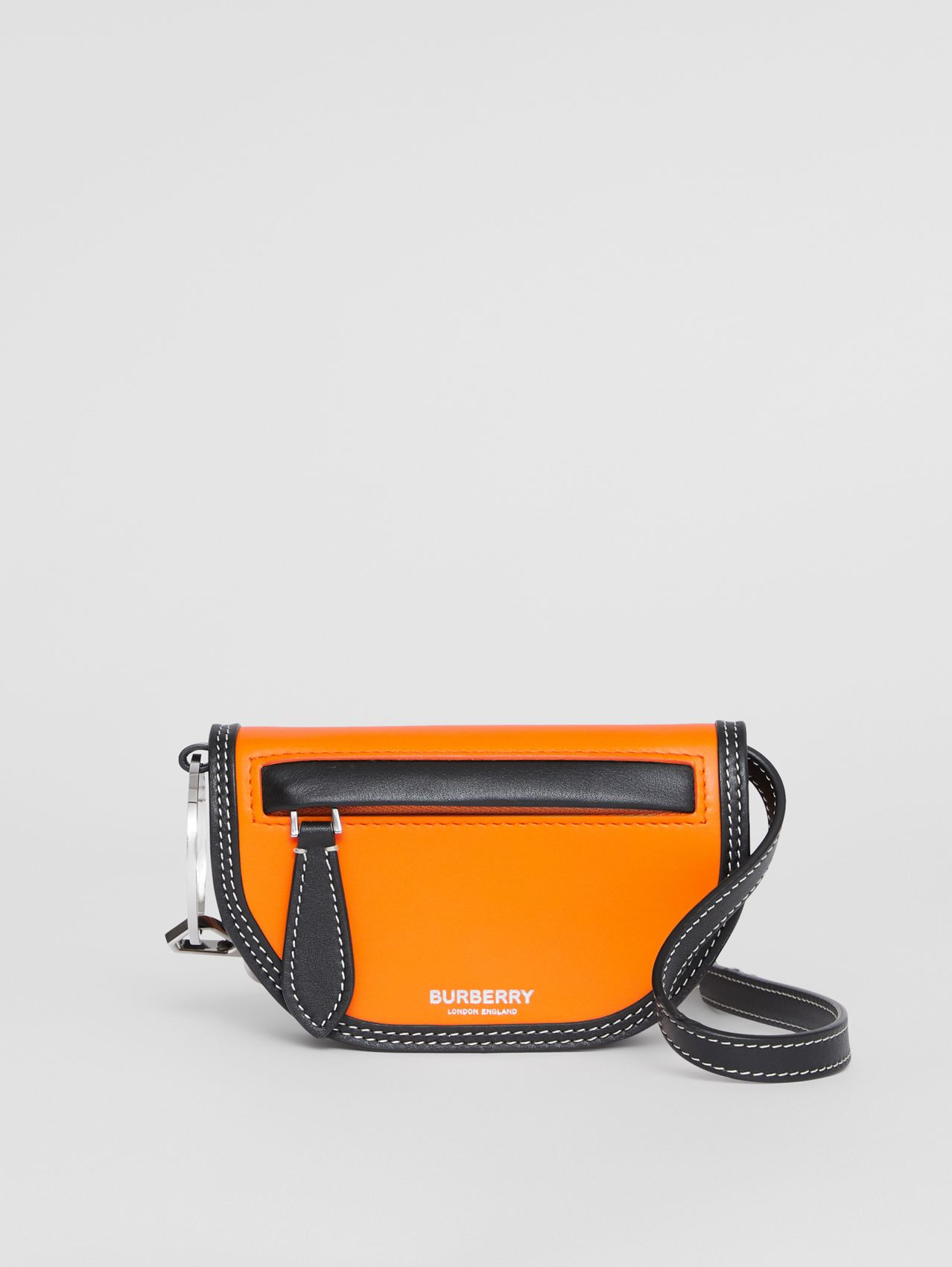 Leather Olympia Card Case with Detachable Strap in Deep Orange