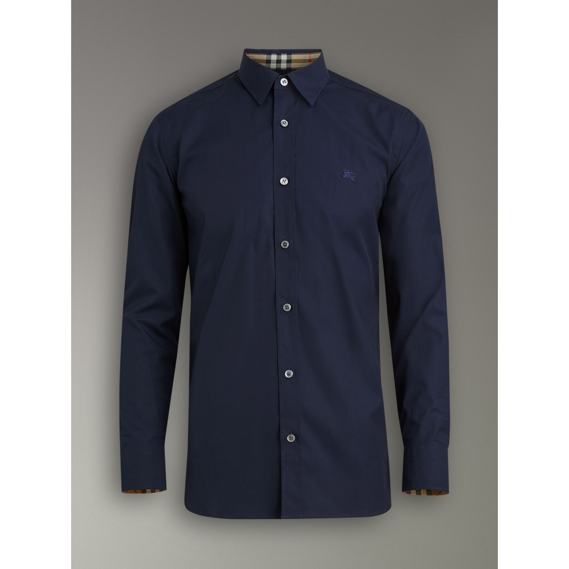 Check Cuff Stretch Cotton Poplin Shirt in Navy - Men | Burberry - gallery image 3
