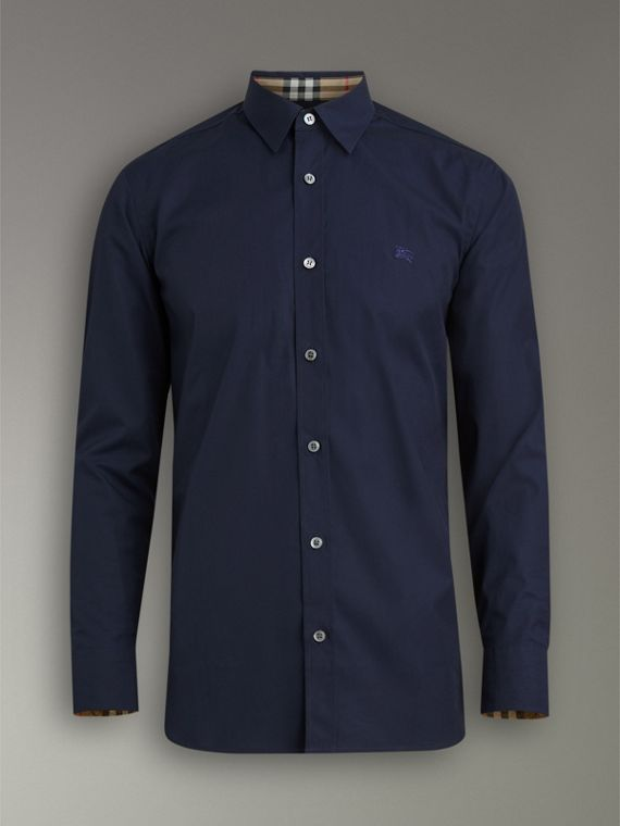 Check Cuff Stretch Cotton Poplin Shirt in Navy - Men | Burberry United Kingdom - cell image 3