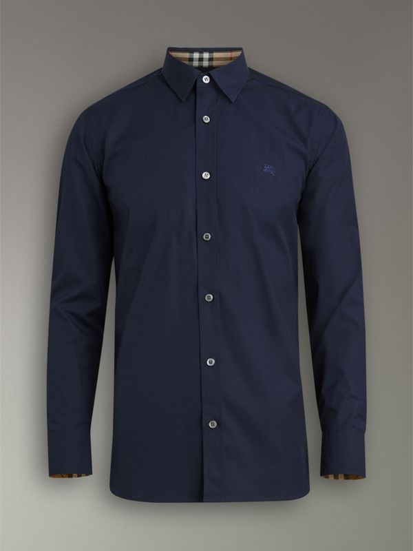 Check Cuff Stretch Cotton Poplin Shirt in Navy - Men | Burberry - cell image 3
