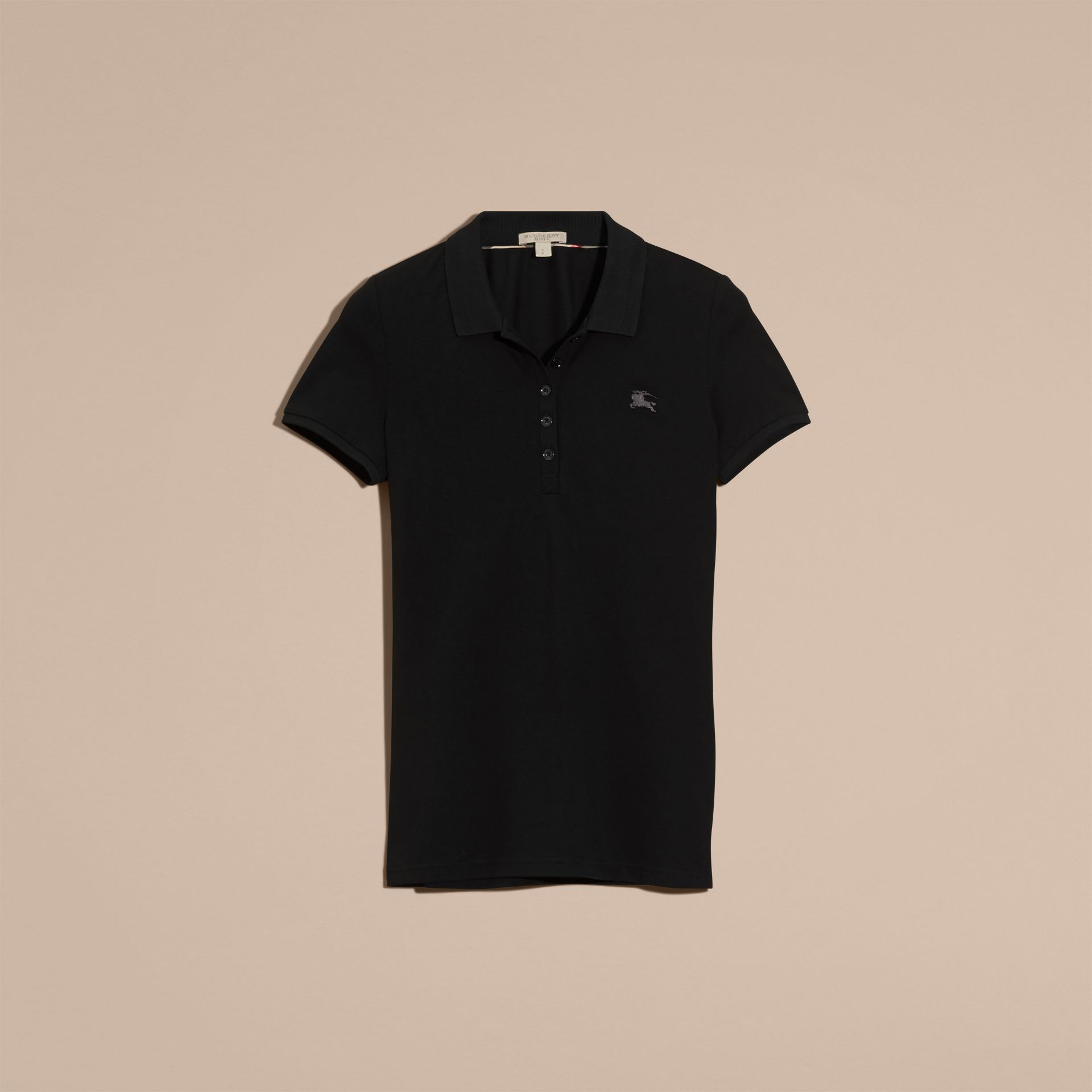 Black Cotton Piqué Polo Shirt Black - gallery image 4