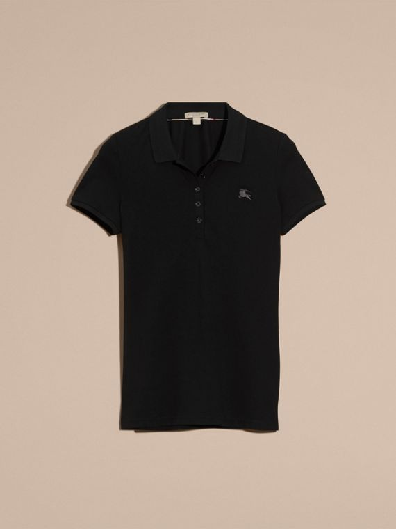 Black Cotton Piqué Polo Shirt Black - cell image 3