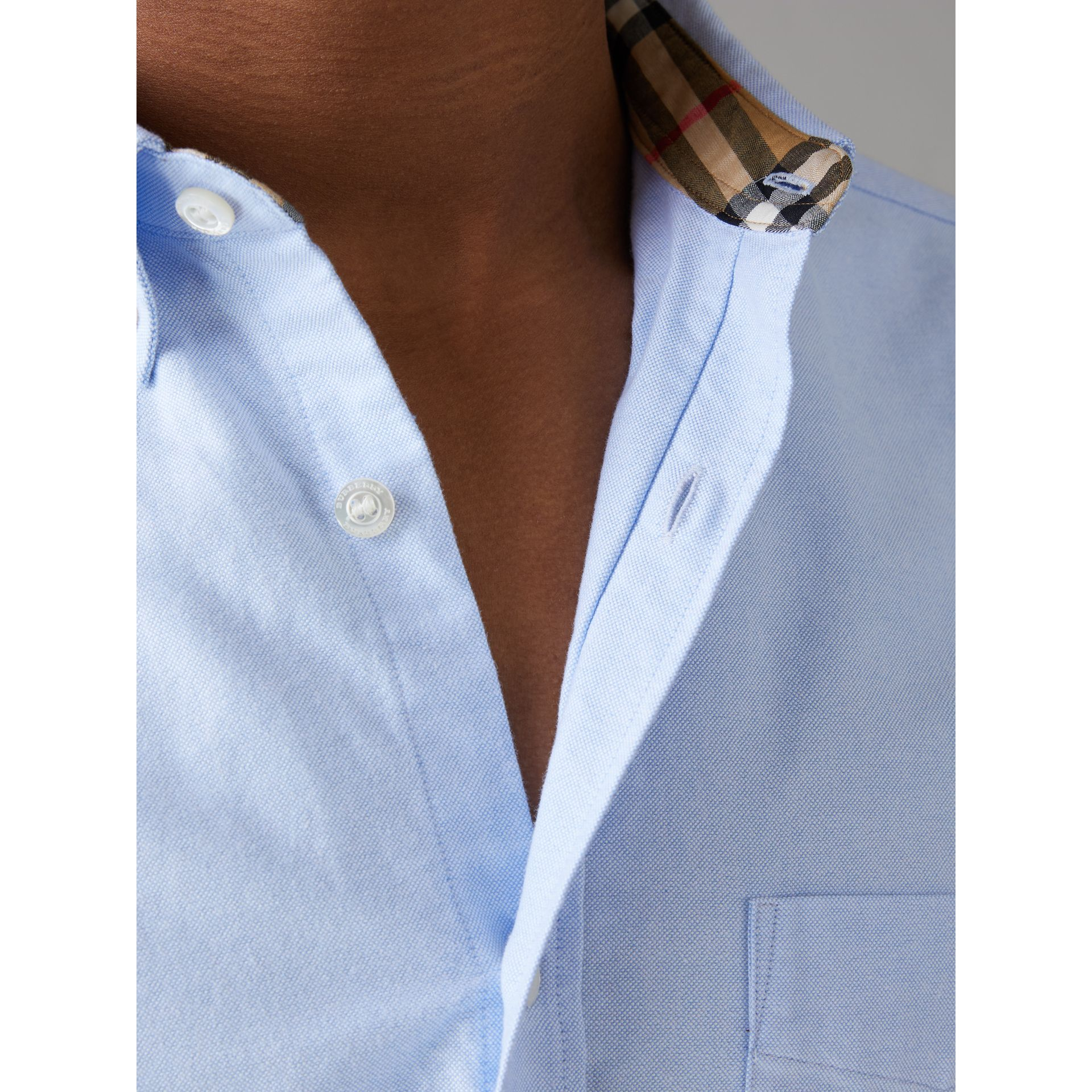 Check Cuff Cotton Oxford Shirt in Cornflower Blue - Men | Burberry - gallery image 1