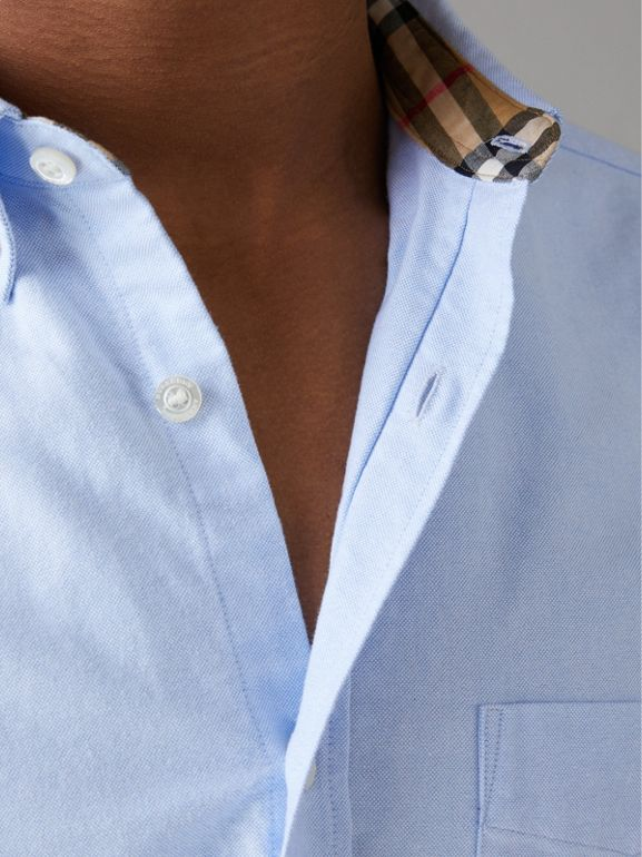 Check Cuff Cotton Oxford Shirt in Cornflower Blue - Men | Burberry Singapore - cell image 1