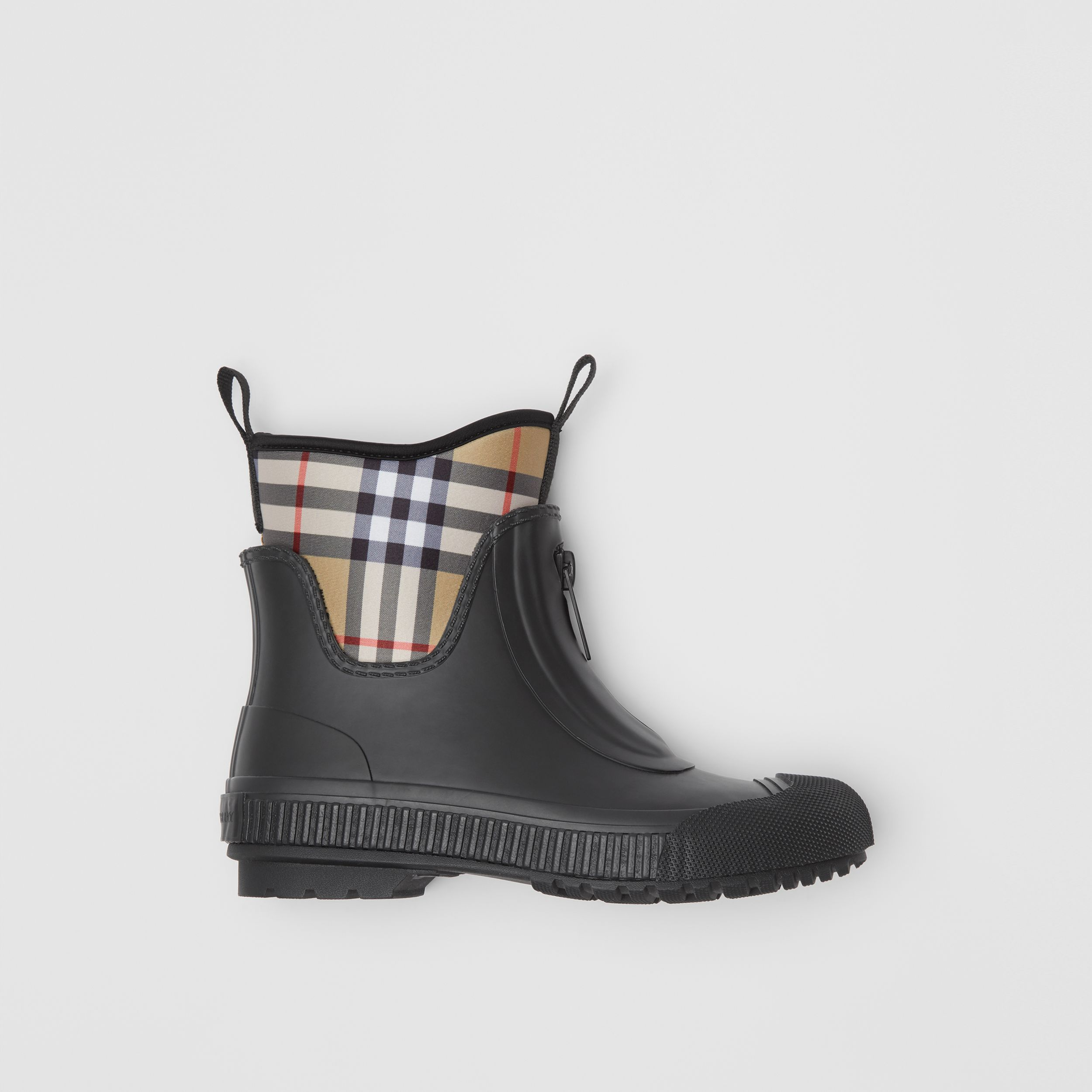 Vintage Check Neoprene and Rubber Rain Boots in Black - Women | Burberry - 1