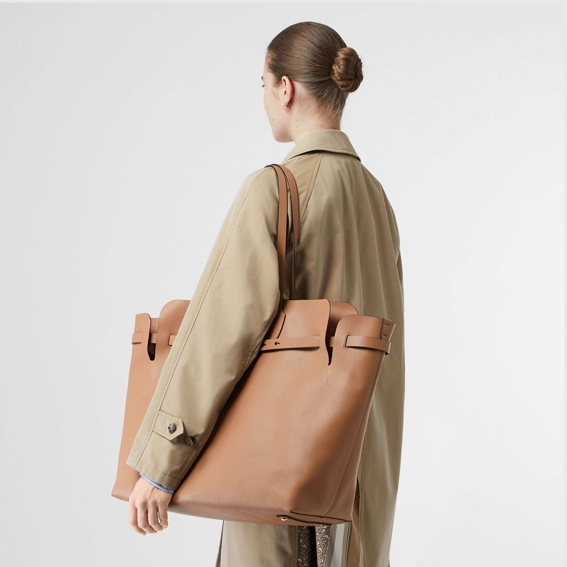 The Large Soft Leather Belt Bag in Light Camel - Women | Burberry - gallery image 2