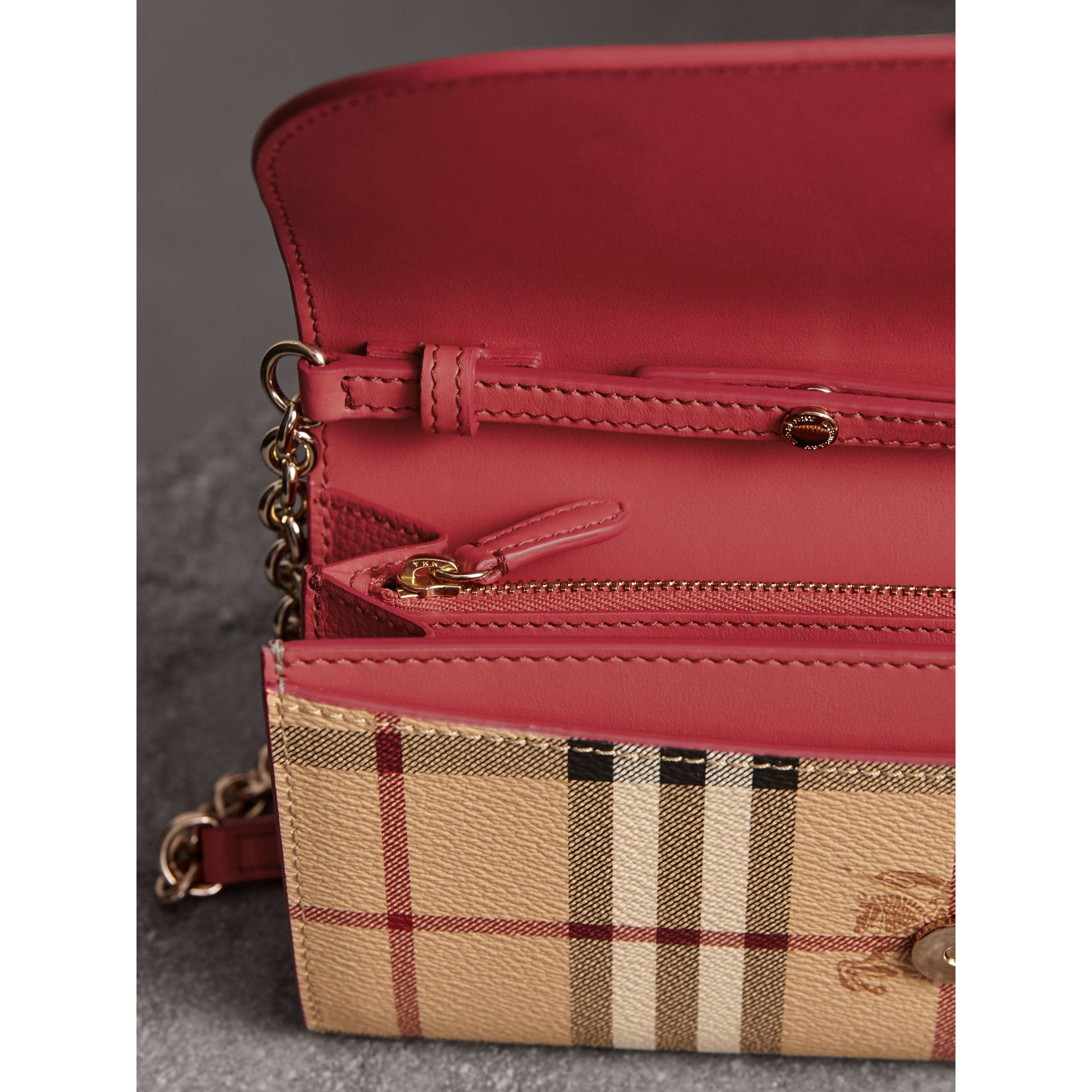 Leather Trim Haymarket Check Wallet with Chain in Coral Red - Women | Burberry - gallery image 6