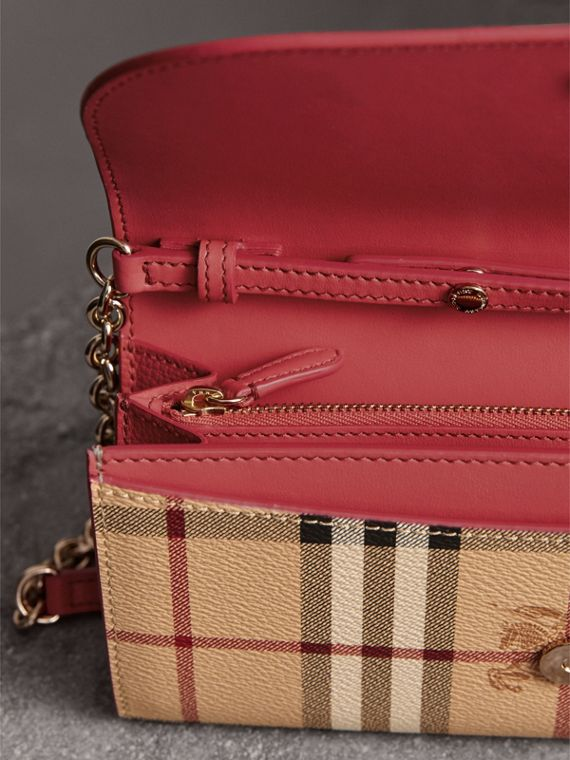 Leather Trim Haymarket Check Wallet with Chain in Coral Red - Women | Burberry - cell image 3