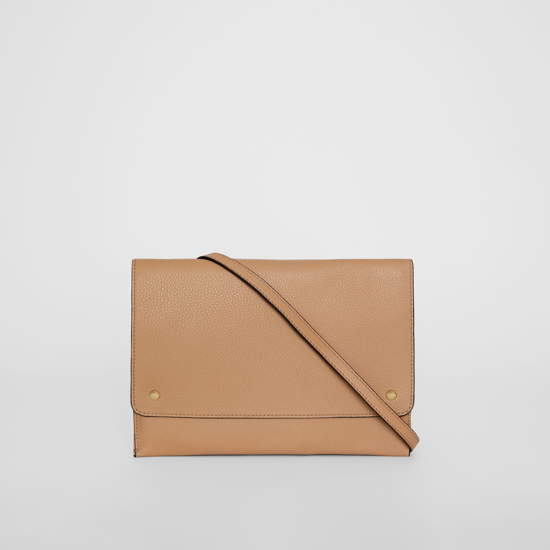 Leather Pouch with Detachable Strap in Light Camel - Women | Burberry United States - gallery image 7