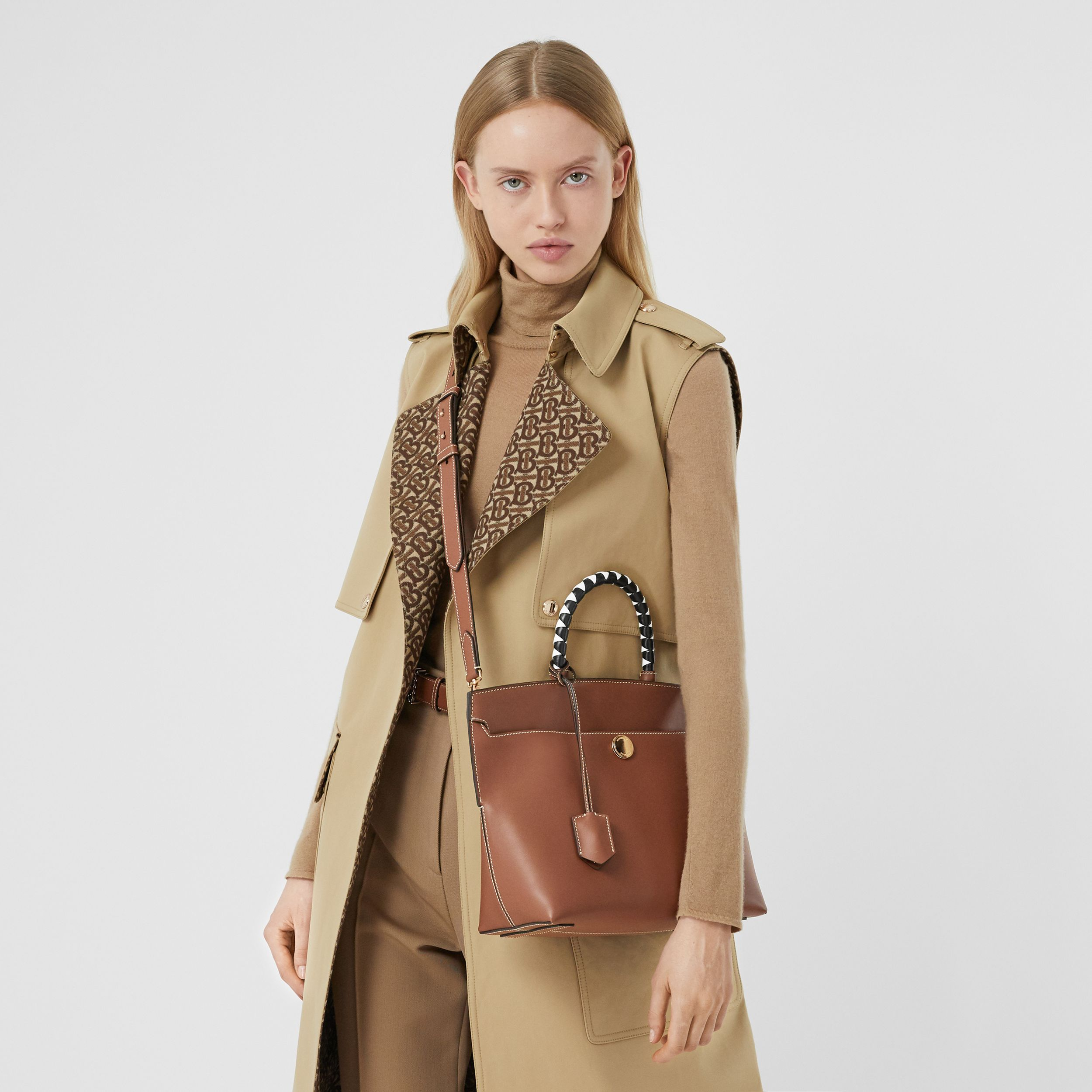Small Leather Society Top Handle Bag in Tan - Women | Burberry - 3