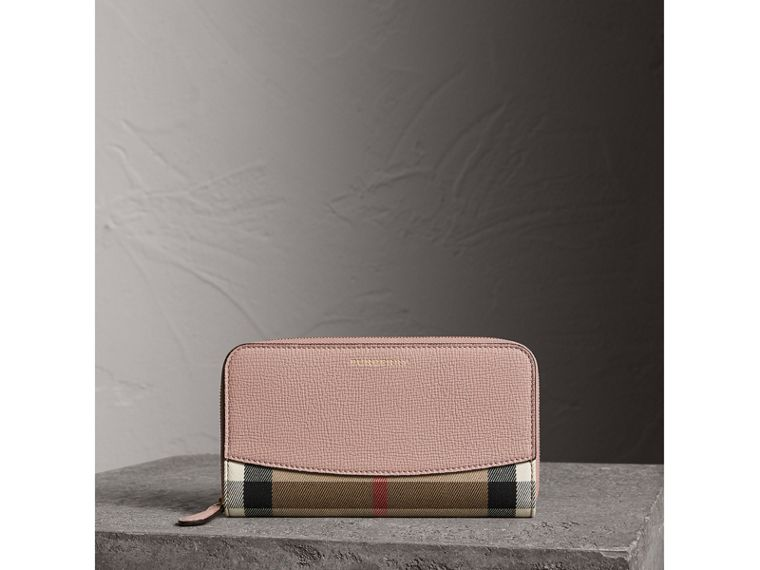 House Check and Leather Ziparound Wallet in Pale Orchid - Women | Burberry United Kingdom - cell image 4