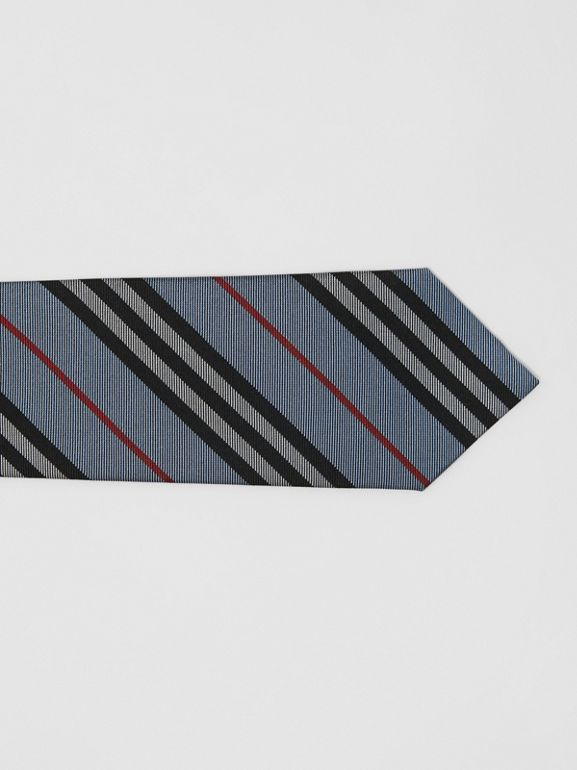 Classic Cut Icon Stripe Silk Tie in Pale Blue - Men | Burberry - cell image 1