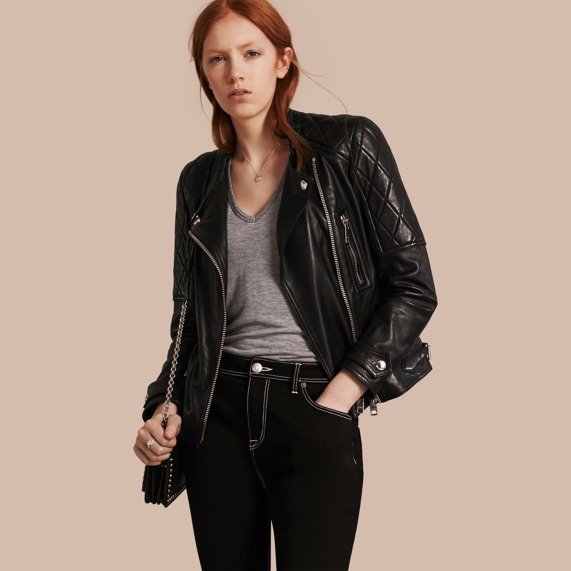 Black Panel Detail Lambskin Biker Jacket - gallery image 1