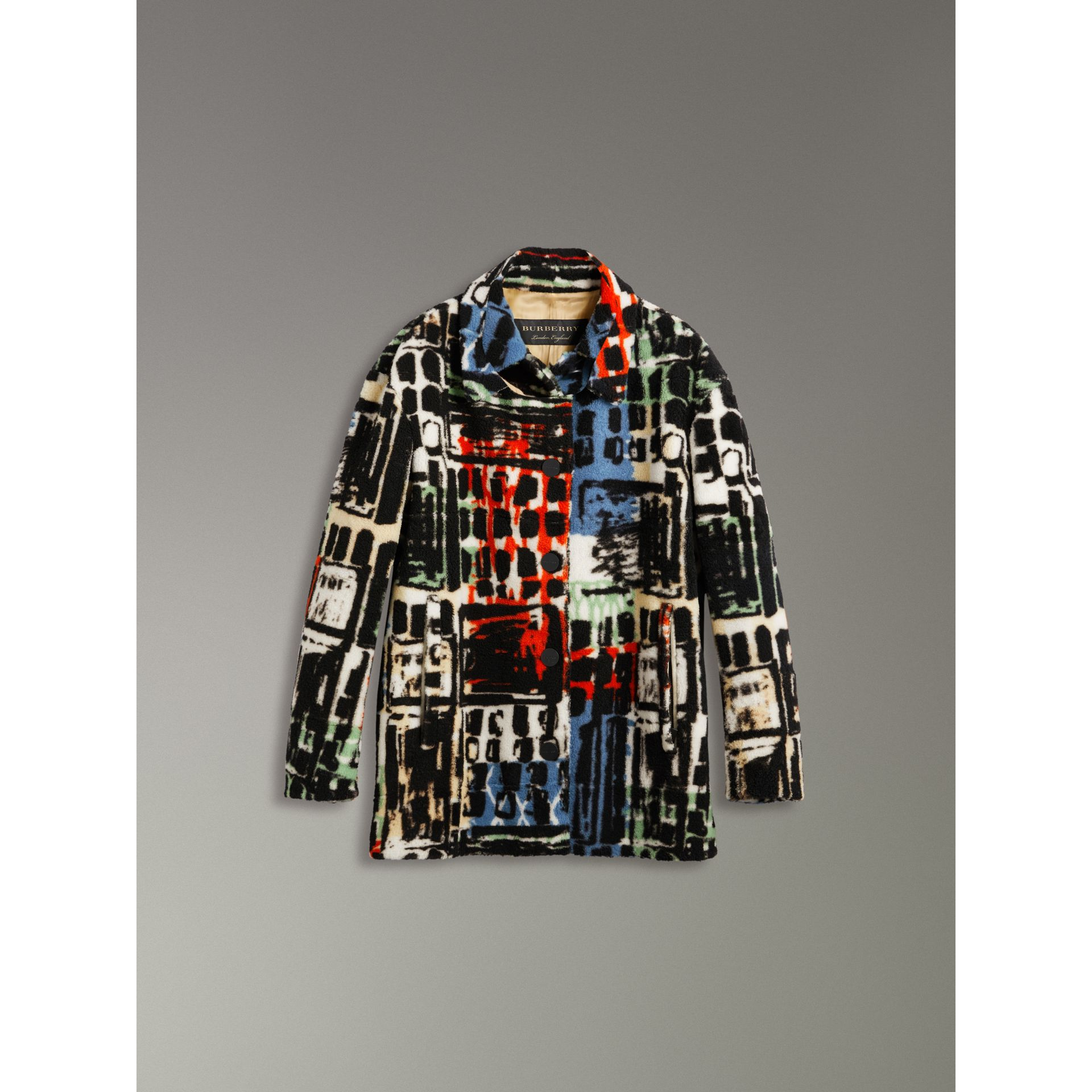 Graffiti Print Shearling Oversized Jacket in Steel Blue - Women | Burberry - gallery image 3