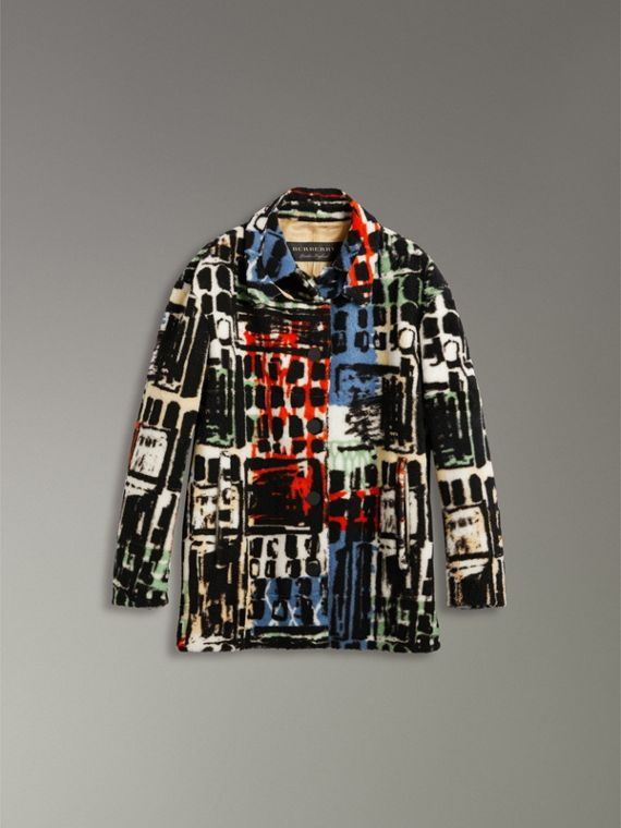 Graffiti Print Shearling Oversized Jacket in Steel Blue - Women | Burberry Hong Kong - cell image 3