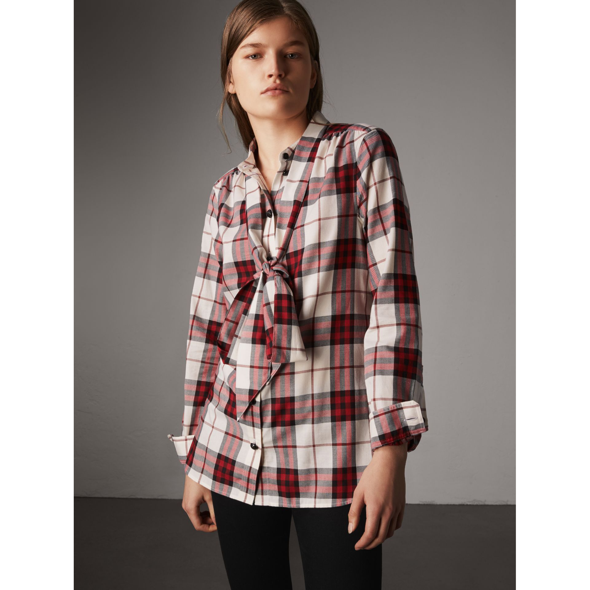 Pussy-bow Check Flannel Shirt in Crimson Red - Women | Burberry - gallery image 0