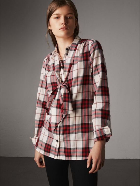 Pussy-bow Check Flannel Shirt in Crimson Red