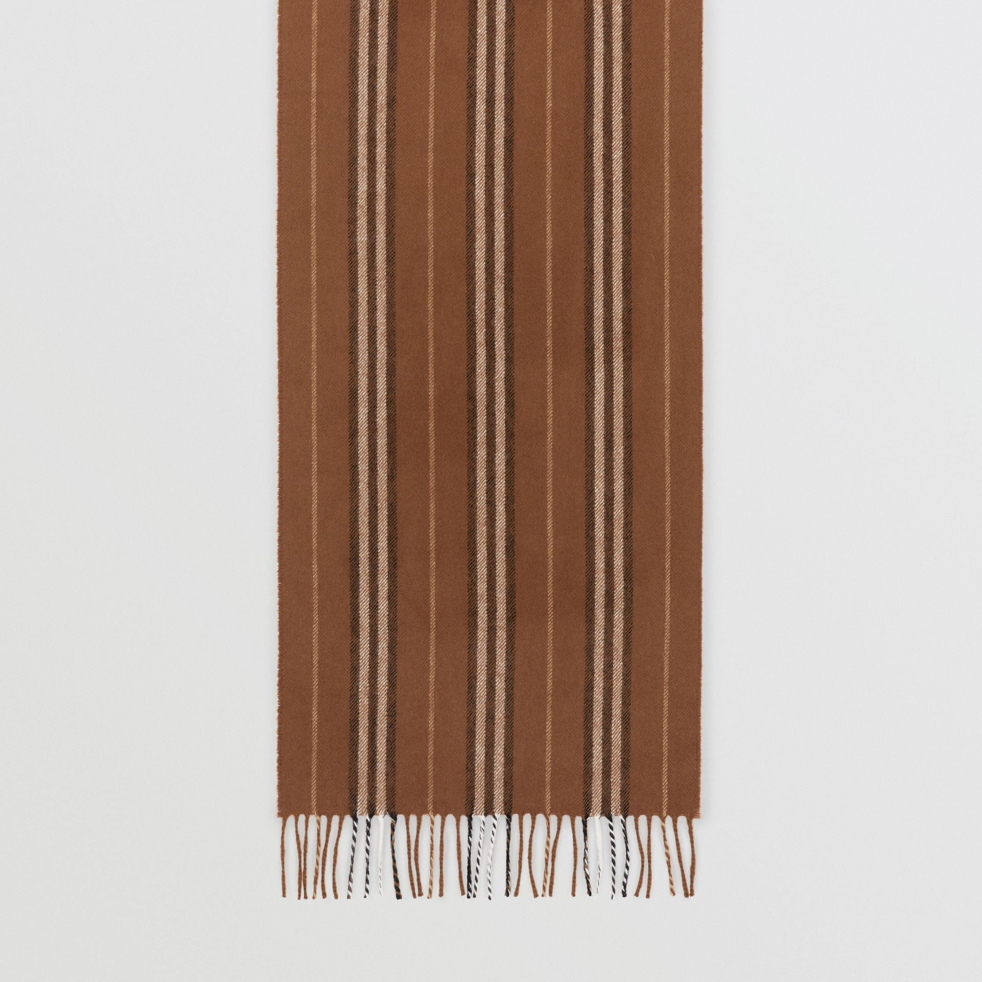 Icon Stripe Cashmere Scarf in Dark Chestnut Brown | Burberry United Kingdom - gallery image 4