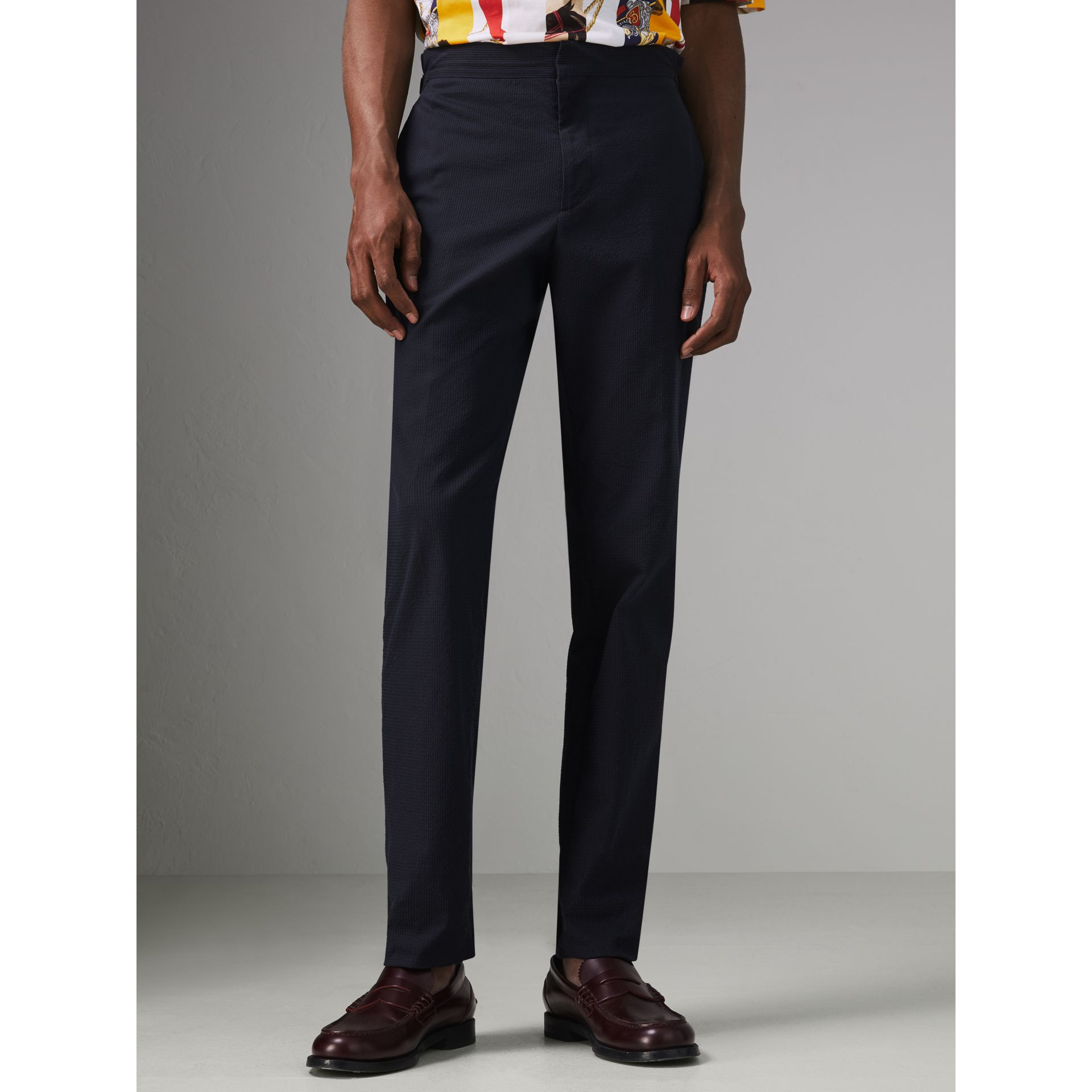 Soho Fit Cotton Silk Seersucker Suit in Navy - Men | Burberry - gallery image 7