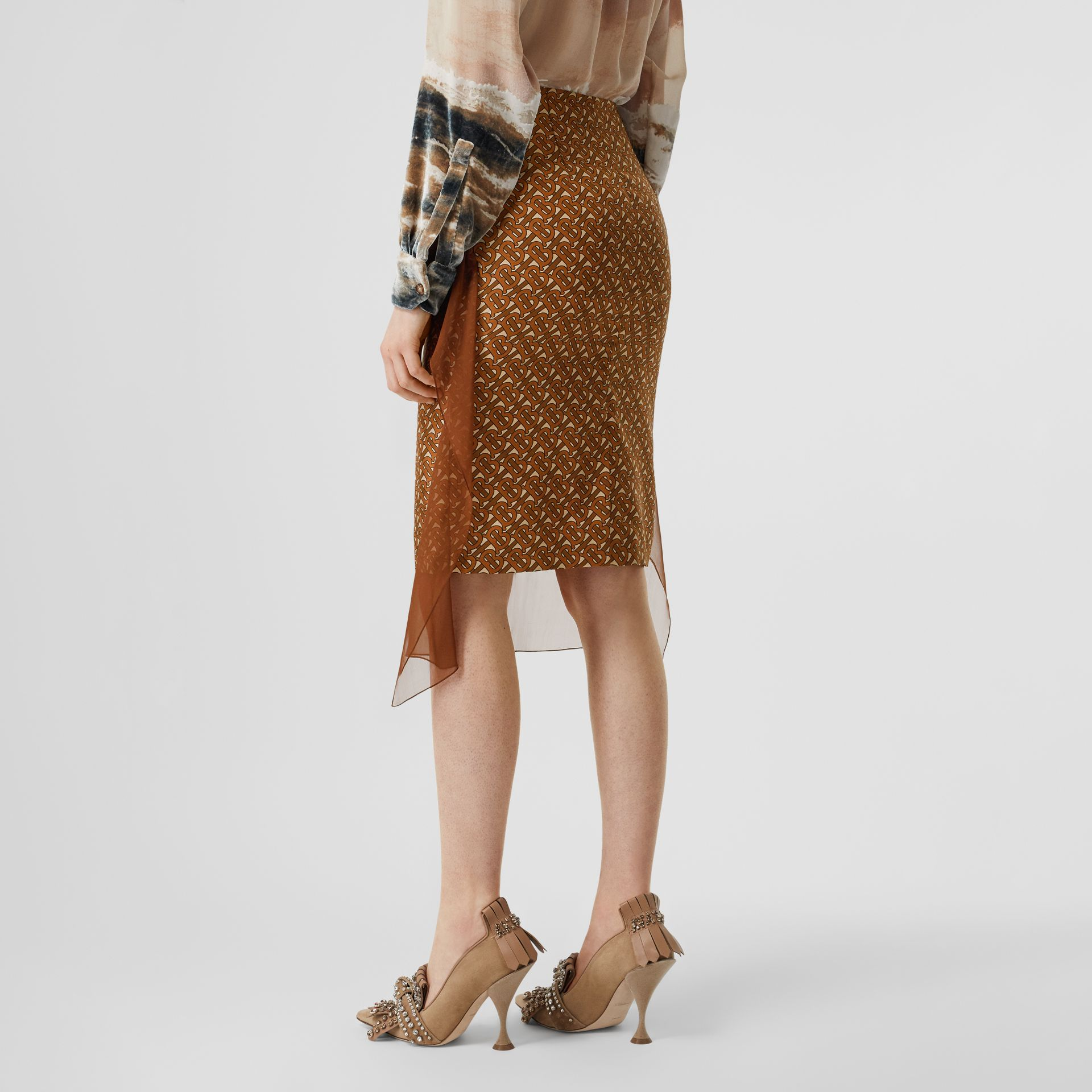 Scarf Detail Monogram Print Silk Pencil Skirt in Brown - Women | Burberry United Kingdom - gallery image 2