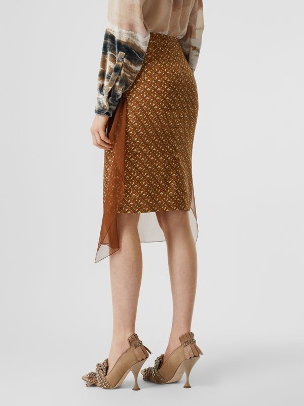 Scarf Detail Monogram Print Silk Pencil Skirt in Brown - Women | Burberry United Kingdom - cell image 2