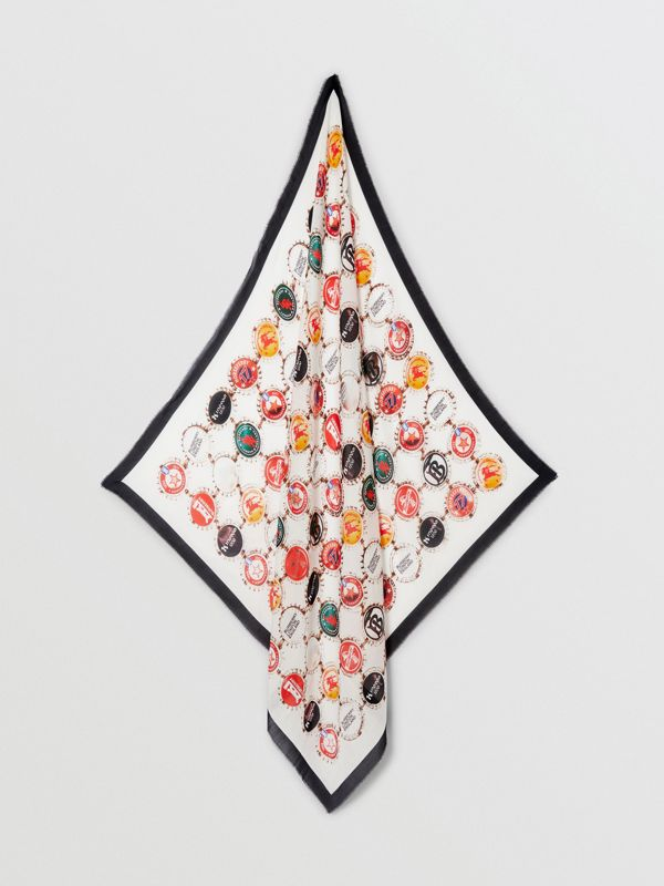 Bottle Cap Print Cotton Silk Large Square Scarf in Multicolour | Burberry - cell image 3