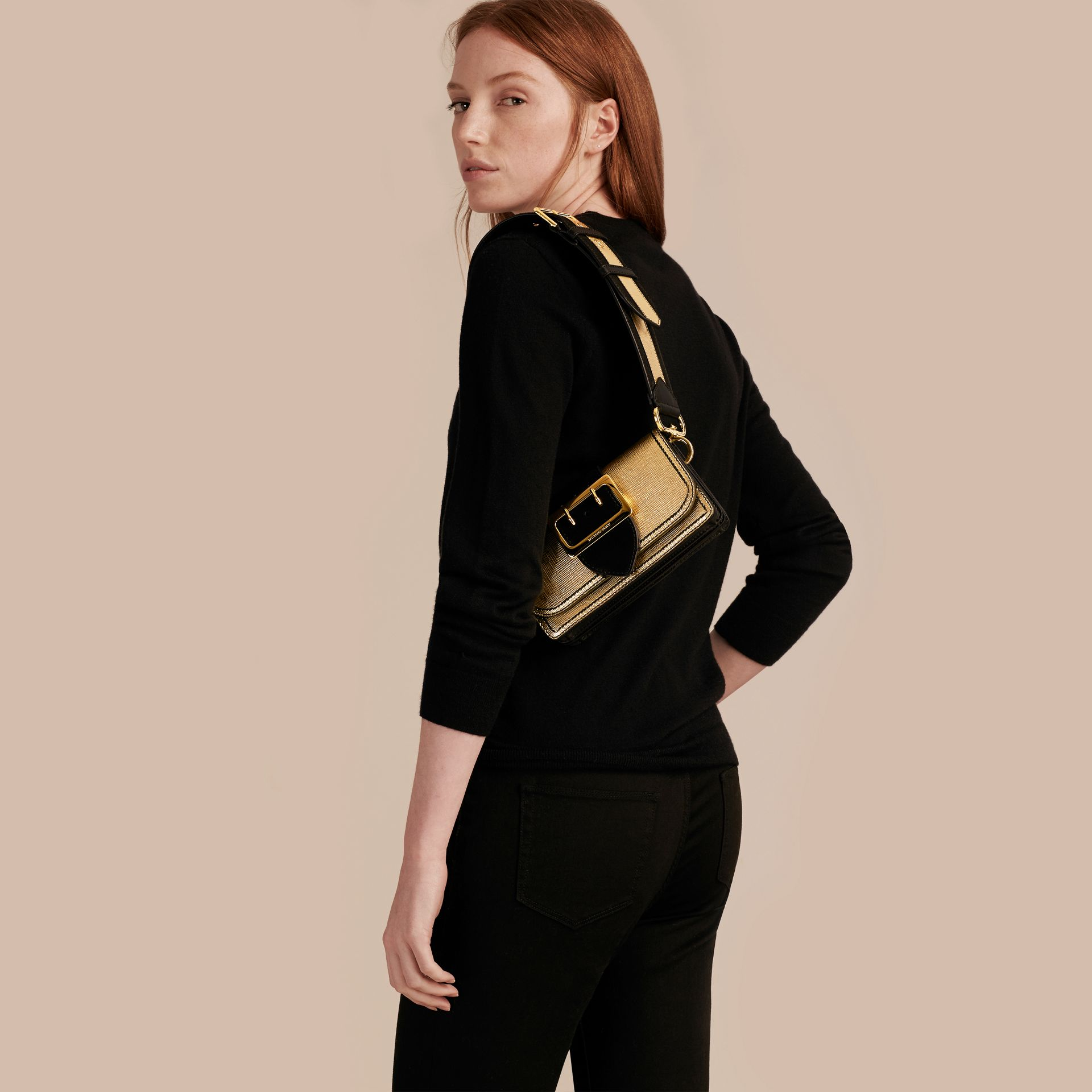 Gold/black The Small Buckle Bag in Metallic Leather and Suede - gallery image 8