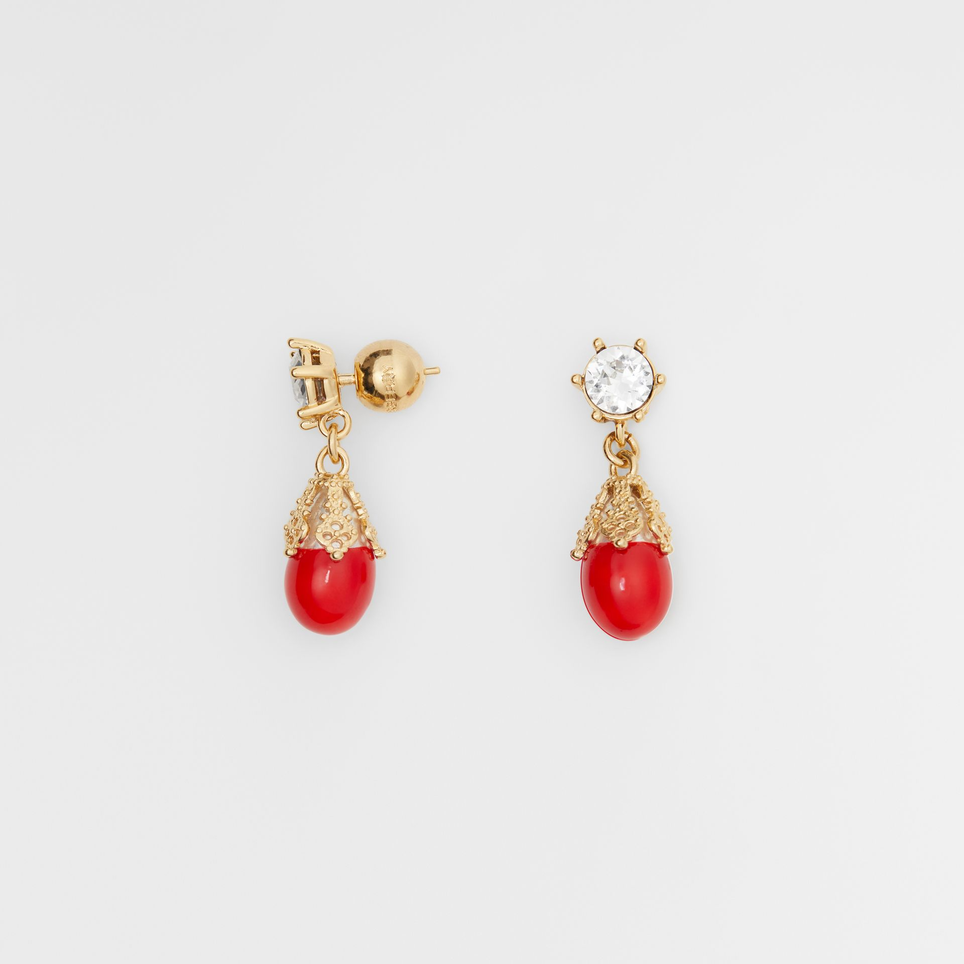 Gold-plated Faux Pearl Charm Earrings in Bright Red/light - Women | Burberry Australia - gallery image 3