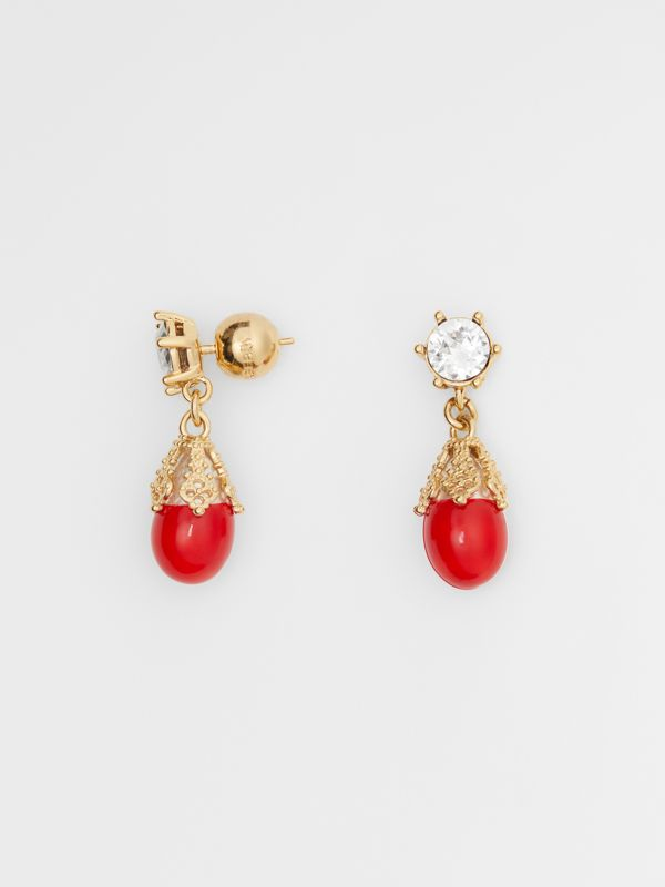 Gold-plated Faux Pearl Charm Earrings in Bright Red/light - Women | Burberry Australia - cell image 3